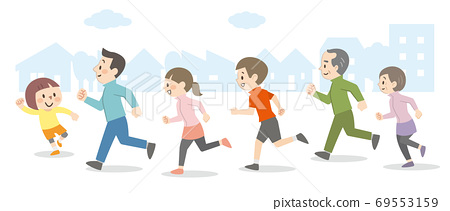 야외를 달리는 사람들 69553159
