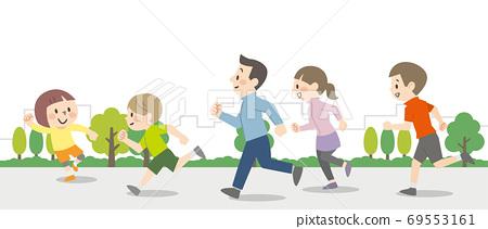 戶外跑步的人 69553161