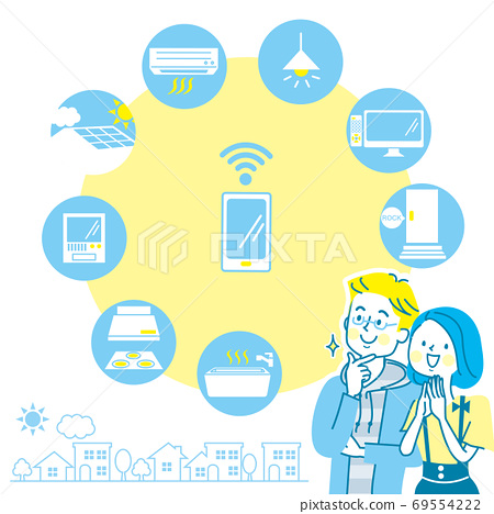 笑臉對年輕的夫婦和家用電器圖標 69554222