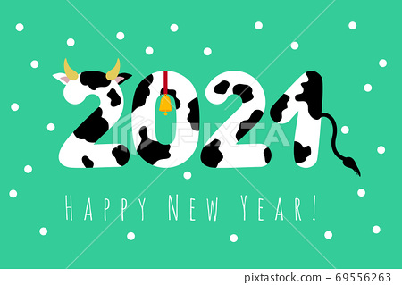 Happy New Year. 2021. New year 2021. creative postcard design with a cow, a bull with a bell on a green background. Vector illustration for congratulations 69556263