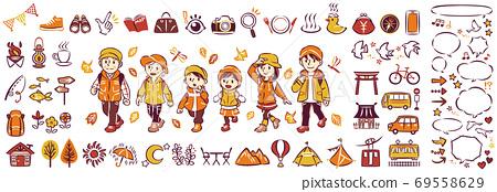 三代家庭享受秋天的秋葉狩獵和戶外休閒觀光圖標插圖和氣球集 69558629