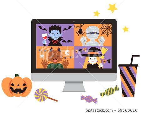 萬聖節糖果台式PC在Internet上進行遠程聚會 69560610