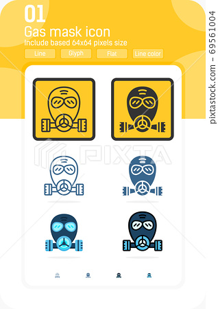 gas mask premium icon with multiple style isolated on white background. Vector symbol concept design template for web design and apps, medical, UI, UX and all project. Include 64x64 pixel perfect 69561004