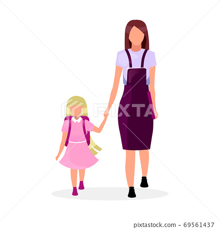 Mother with daughter going to school flat vector illustration. Older and younger sisters holding hands cartoon characters isolated on white background. Preteen and teen schoolchildren, schoolgirls 69561437