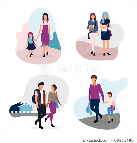 School life flat illustrations set. Teenage and preteen schoolchildren. Schoolmates, school couple, brothers and sisters cartoon characters isolated on white background. Schoolgirls and schoolboys 69561490