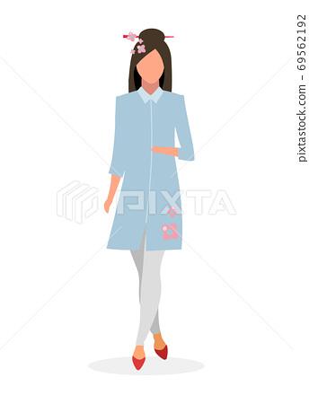 Elegant japanese girl flat vector illustration. Glamour chinese woman cartoon character isolated on white background. Young lady in kimono style dress. Asian fashion model with sakura flowers 69562192