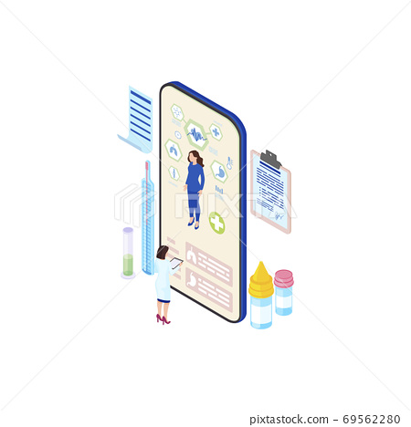 Futuristic ehealth system isometric illustration. Cartoon doctor, physician studying patient health info from smartphone screen. Telemedicine technology. Distant medical consultation service 69562280