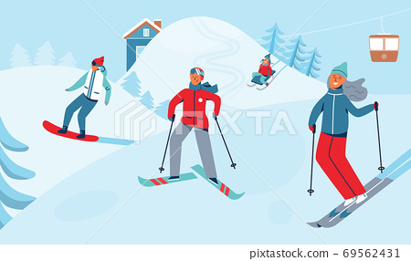 Winter Sports Activity. Ski Resort Characters 69562431