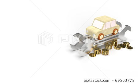 The car wood toy and wrench  gold coins on white background 3d rendering. 69563778