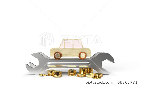The car wood toy and wrench  gold coins on white background 3d rendering. 69563781