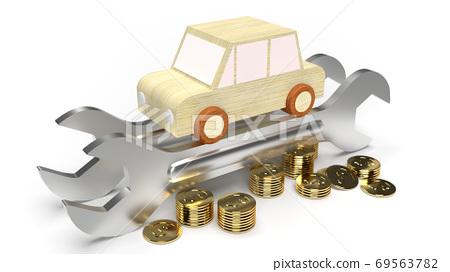 The car wood toy and wrench  gold coins on white background 3d rendering. 69563782