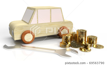 The car wood toy and wrench  gold coins on white background 3d rendering. 69563790