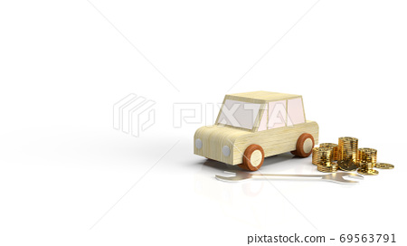 The car wood toy and wrench  gold coins on white background 3d rendering. 69563791