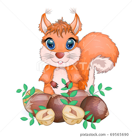 Cute cartoon squirrel with beautiful eyes holds a nut, surrounded by nuts 69565690