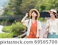 年輕女性和朋友在女孩之遊中漫步於布院[9月] 69565700