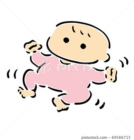 嬰兒彩色插圖躺著和四肢飄揚 69566715