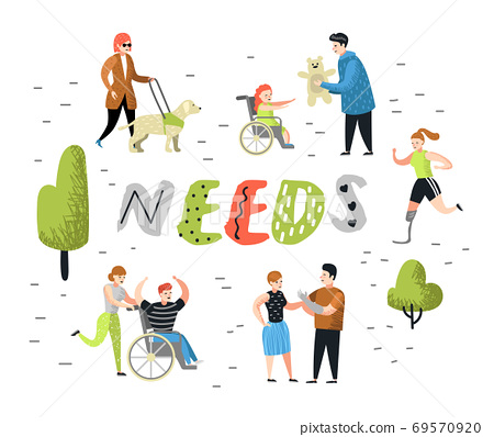 Flat People Characters Set with Special Needs. Disabled Cartoons, Man and Kid in Wheelchair. Disability Person, Woman with Prothesis. Vector illustration 69570920