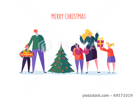 Happy Family Celebrating Winter Holidays with Christmas Tree and Gifts. Parents and Children on New Year Party. Vector illustration 69571019
