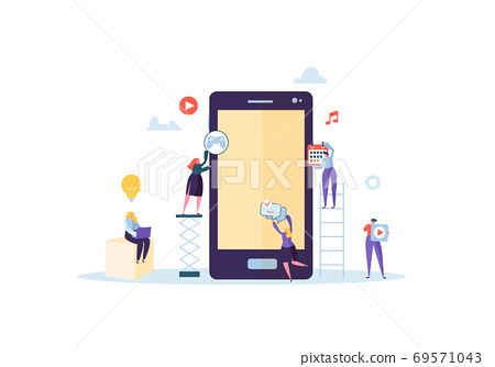Flat People Characters Building Mobile Application 69571043