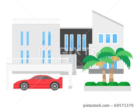 고급 주택의 일러스트 69571370