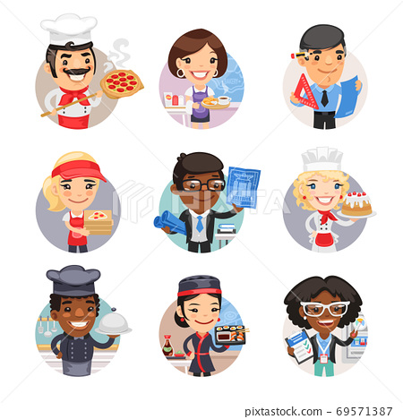 Cartoon People Avatars with Different Professions 69571387
