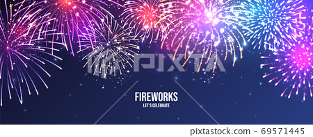 Festive fireworks. Realistic colorful firework. Christmas or New Year greeting card. Diwali festival 69571445