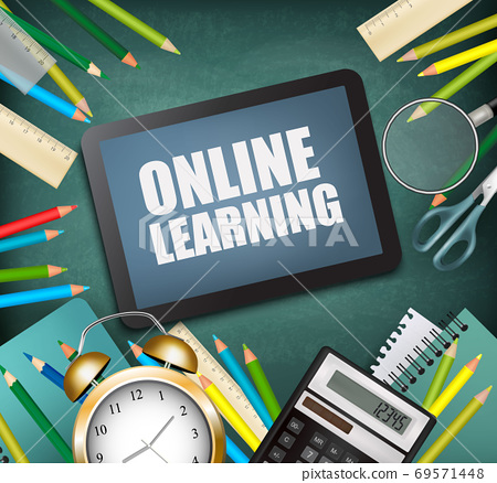 Back to online school. E-learning concept. School supplies with a tablet.  Vector. 69571448