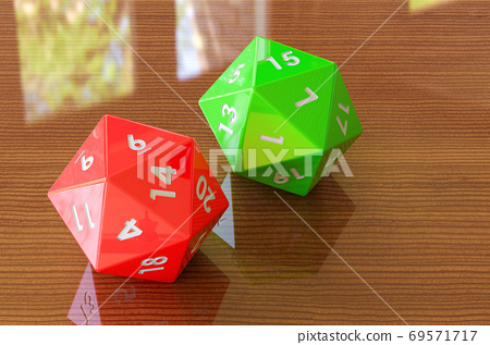 Red twenty-sided die, 20 sides on the wooden table. 3D rendering 69571717