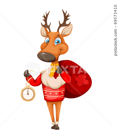 Merry Christmas and Happy New Year. Cute deer 69573410