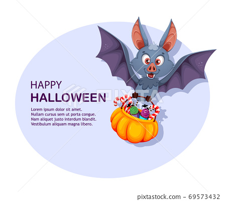 Happy Halloween. Funny bat cartoon character 69573432