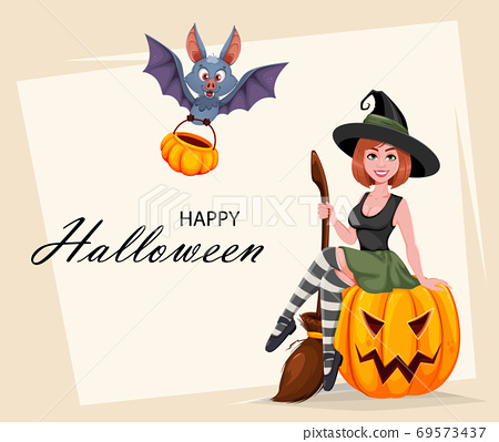 Happy Halloween. Beautiful witch and funny bat 69573437