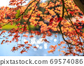 Beautiful autumn leaves and shining water surface 69574086