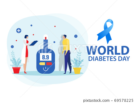 Medicine diabetes concept with man measuring sugar in blood with glucometer 69578225
