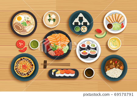 japanese food on top view wooden background. 69578791