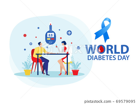 Medicine diabetes concept with man measuring sugar in blood with glucometer. 69579095