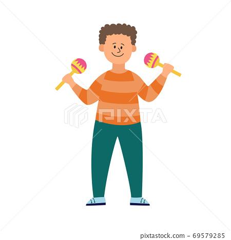 Child boy playing music on maracas, flat vector illustration isolated. 69579285