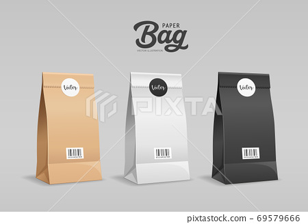 Brown, White, Black Paper bag folded, mouth bag there are circle stickers and barcodes, mock up 69579666