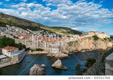 The fortress Bokar and the South-western part of Dubrovnik City walls. Croatia. 69581766