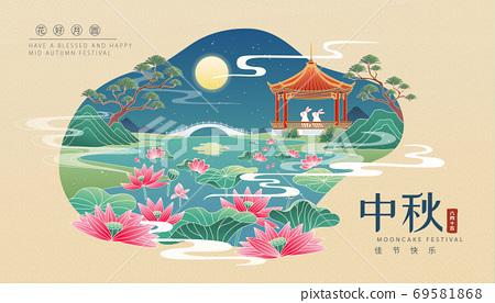 Lotus pond moonlight scenery 69581868