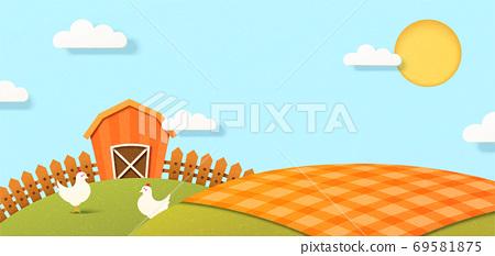 Paper art Farm Scene 69581875