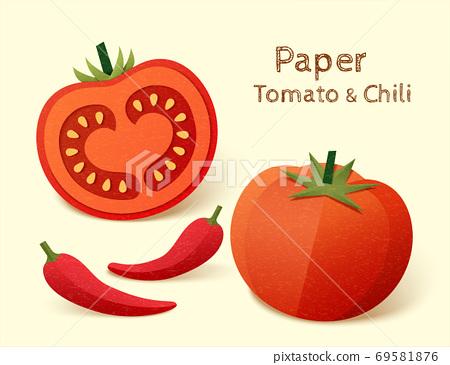 Paper tomato and chili 69581876