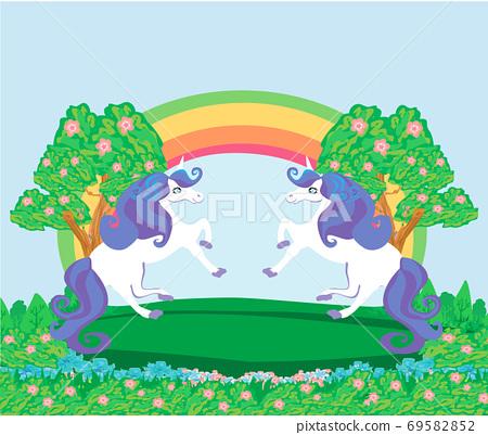 Card with a cute unicorns, rainbow and flowery meadow 69582852