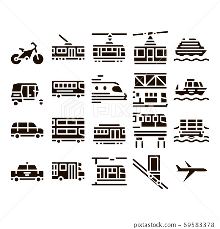 Public Transport Vector Line Icons Set 69583378