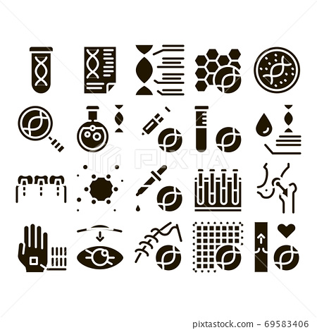 Biomaterials Collection Elements Vector Icons Set 69583406