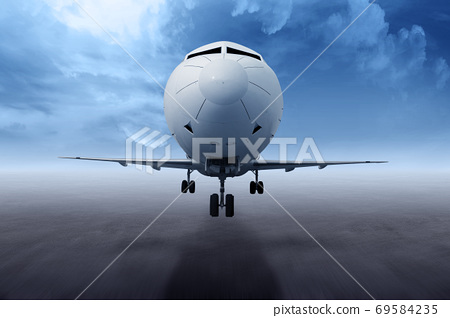The airplane takes off from the runway 69584235