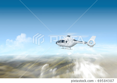 Helicopter flying in the air above the landscape 69584387