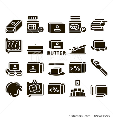 Butter Or Margarine Glyph Set Vector 69584595
