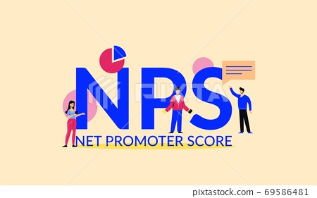 NPS net promoter score illustration. Marketing corporate system with financial success strategy. 69586481