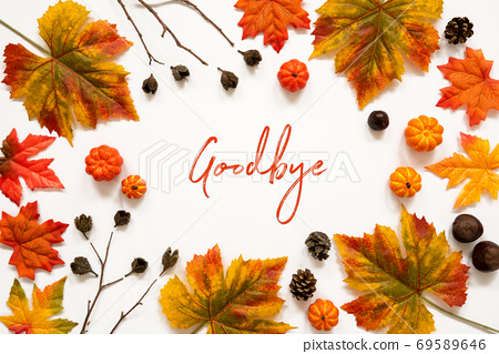 Bright Colorful Autumn Leaf Decoration, English Text Goodbye 69589646