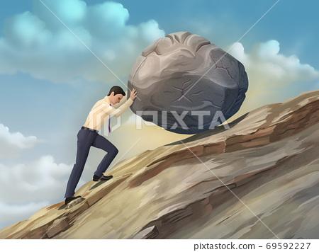 Businessman pushing a boulder 69592227